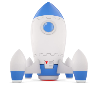 Blue and white rocket ready to launch